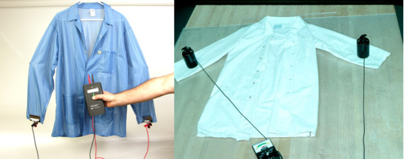 Left: Garment hanging via clamps. Right: Garment on flat surface.